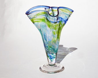 Fluted Glass Vase - Multicolored - Hand Blown - Free Shipping