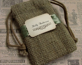 Burlap favor bags - Personalized - Buckle - Place Card