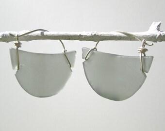 graphite grey seaglass-like crescent earrings