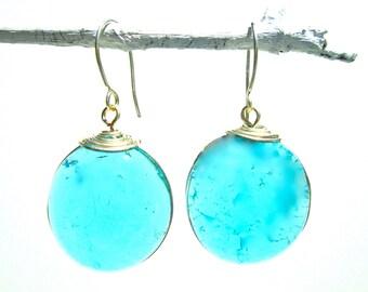 Aquamarine glass and silver earrings