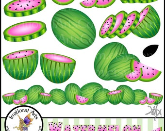 Watermelon set 1 INSTANT DOWNLOAD of 12 png files digital clipart for scrapbooking pretty pink and green watermelons