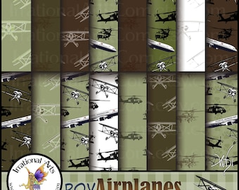 Boy Airplanes Green & Brown - 16 jpg digital scrapbooking papers - bi planes, airplanes, black hawk choppers {Instant Download}