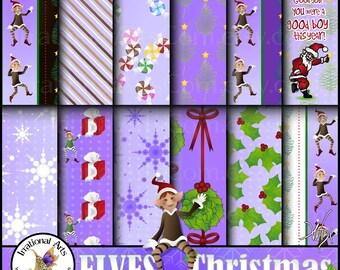 ELVES Christmas set 1 INSTANT DOWNLOAD 12 jpg files digital scrapbooking papers snowflakes elves gifts snowflakes peppermint holly Santa