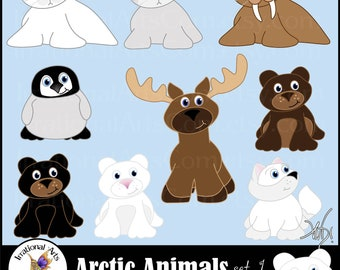 All new Arctic Animals set 1 INSTANT DOWNLOAD 9 arctic animals digital clipart graphics harp seal moose polar bear arctic fox walrus penquin