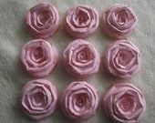 Scrapbook Flowers...9 Piece Set of Very Sweet and Shabby Chic Blush Pink Scrapbook Paper Flower Rolled Roses