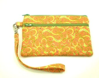 Smartphone iPhone Cell Phone Case, Double Pocket Wristlet, Detachable Strap, Orange with Lime Green Swirls