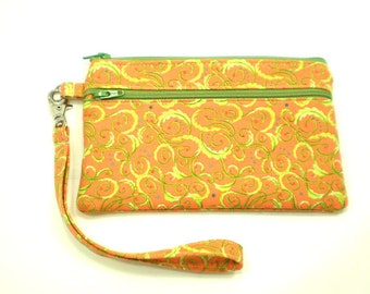 Double Pocket Wristlet with Detachable Strap Orange with Lime Green Swirls