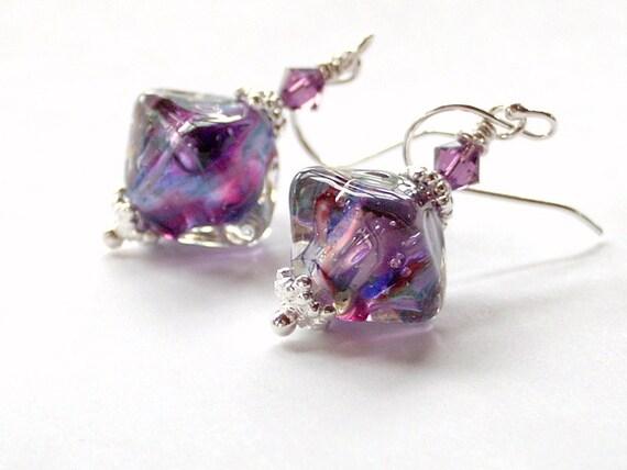 Lampwork Bead Swarovski Crystal Sterling Silver Dangle Earrings