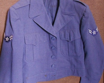 MILITARY JACKET UNIFORM, Vintage mid century, waist coat, blue gray, Wool, lined, emblems