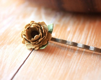 Set of 3 Paper Flower Hairpins - Mustard Yellow, Brown, Pink - Unique Hair Accessories - Gifts under 20