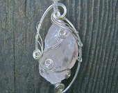 Wire Wrapped Pendant - Pink Rose Quartz Necklace in Silver