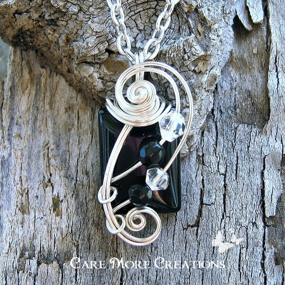 Black Agate Wire Wrapped Pendant - Black Onyx Necklace in Silver