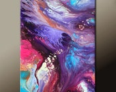 Abstract Art Painting 24x36 Original Contemporary Art on Canvas Purple Coral Plum Pink Aqua Teal by Destiny Womack  - dWo - Utopia