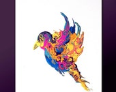 Abstract Modern Art Print - 11x14 Contemporary Abstract Bird Art by Destiny Womack -  dWo - Fly Away