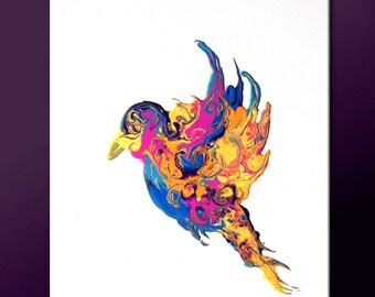Abstract Modern Art Print - 11x14 Contemporary Abstract Bird Art by Destiny Womack -  dWo - Fly Away