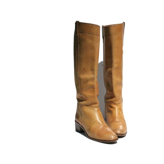 Honey Tan 9 West Leather Riding Boots size 6.5