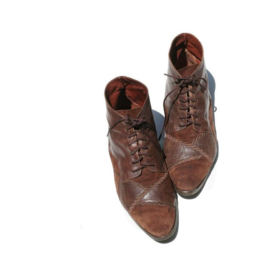 Dark Brown Leather Ankle Boots size 8.5