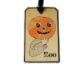 Halloween Pumpkin Tags, Primitive Halloween, Boo, All Hallows Eve, Fun Halloween Gift Tag