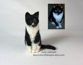 DEPOSIT for one CUSTOM Portraits Needle-Felted Sitting Cat Sculpture (12115)