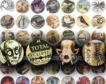 "MACABRE CIRCLES - Digital Printable Collage Sheet - Halloween Variety Sampler with Vampires, Zombies & Skulls, 1"" Circle, Instant Download"