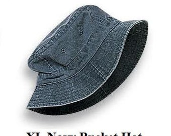 Navy Blue Bucket Hat - Women or Men XL Adams Cap - Price Apparel Embroidery - 10 Different Colors