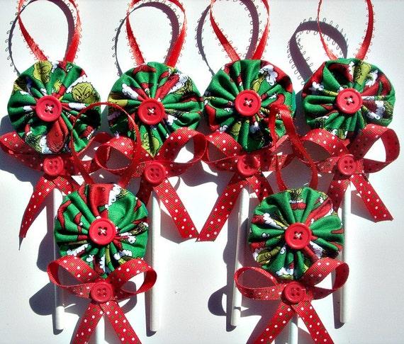 Grinch Fabric YoYo Lollipop Christmas Ornaments Set Of 6