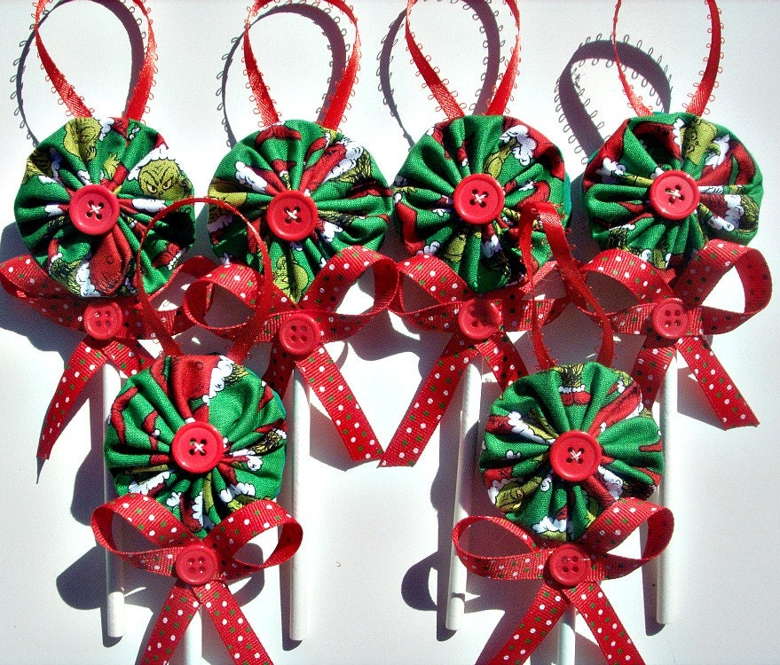 Grinch Fabric YoYo Lollipop Christmas Ornaments Set of 6