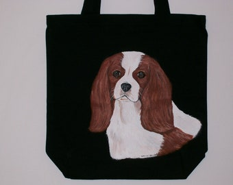 Reuseable Canvas Tote with Cavalier King Charles (blenheim color)