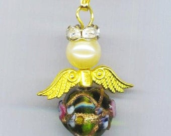 Angel Pendant .Emerald Green Floral Murano . Lampwork . Pearl . Rhinestones . Gold Plated Chain - Watching over You by enchantedbeas on Etsy