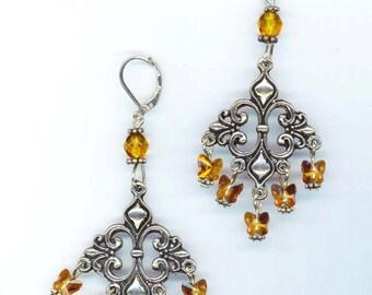 Chandeliers Earrings . Swarovski Glass Butterflies . Baroque . Faceted Crystals . Antique Silver  -  Elegant Night  by enchantedbeas on Etsy