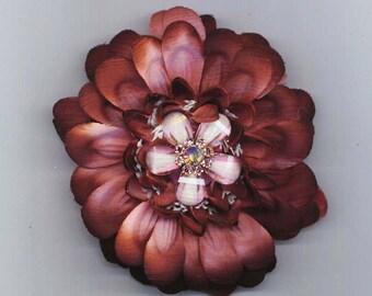 Purple Flower Barrette . Rhinestones Barrette . Hair Pin . Floral Focal . Holiday Woman's Bow  - Purple Elegance by enchantedbeas on Etsy