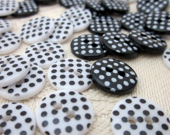 40 Small Black and White Polkadot Buttons