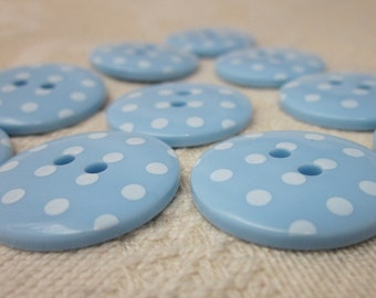 10 Blue Polkadot Buttons