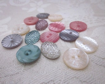 Green, Pink, Ivory Pearly Button Mix