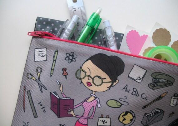 zipper pouch pencil case, clutch, purse, woman, lecturer, teacher, grey, cute