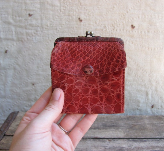 vintage c. 1960s red alligator leather wallet with kiss lock change compartment