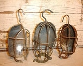 Reserved for Gail Vintage Industrial Trouble Light Cage Lot      th