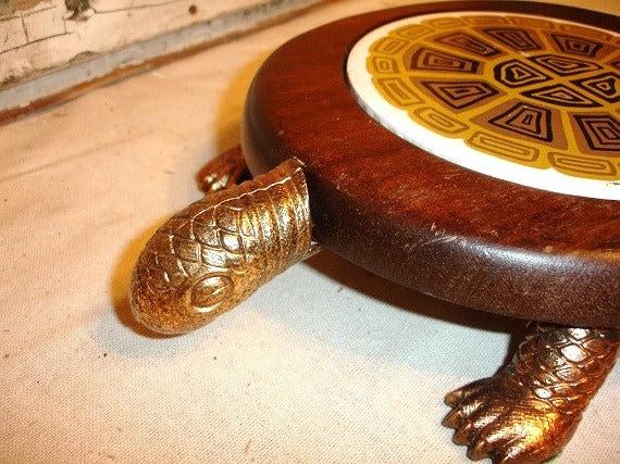 Vintage Wood Ceramic Brass Turtle Cheese Cutting Board     j
