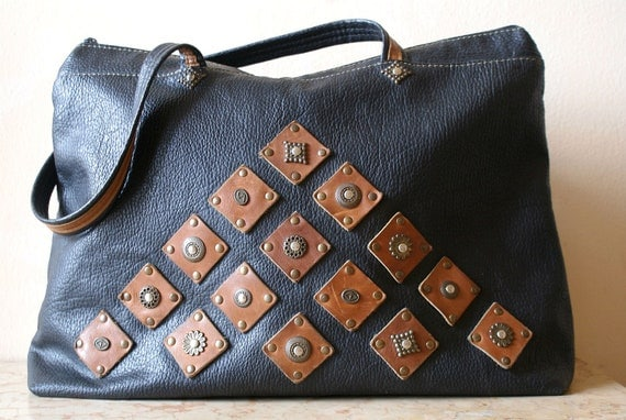 Large Black and Brown Italian Tote Bag with Leather and Stud Accents