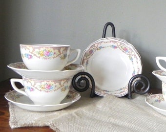 Vintage dessert set for four pretty floral USA pattern four cups saucers and shallow bowls GIFT