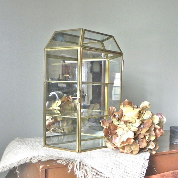 Vintage trinket box shelf mirror brass glass two by for Mirrored box shelves