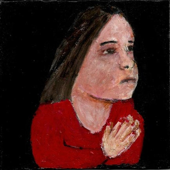 Acrylic Portrait Prayer Painting Religious Spiritual Little girl praying Hands clasped black background Original no 5
