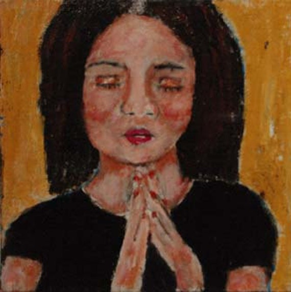 Acrylic Portrait Painting Girl Praying Religious Spiritual Original Prayer Praying Hands 6x6 canvas board No 10
