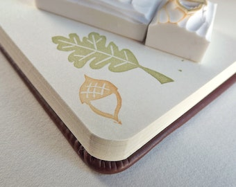 oak leaf and acorn, a two-piece set - hand carved stamps