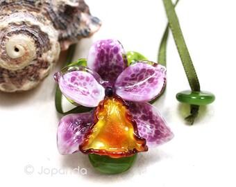 Lampwork Necklace Big Orchid Cattleya Heliotrop Orange by JOPANDA