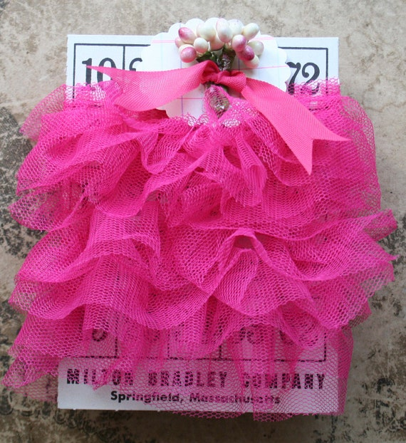 Reserved for Kate...6 yards darling hot pink tulle ruffle trim