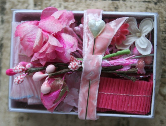 SALE...All Pink  Vintage Millinery and Crepe Paper Art Kit