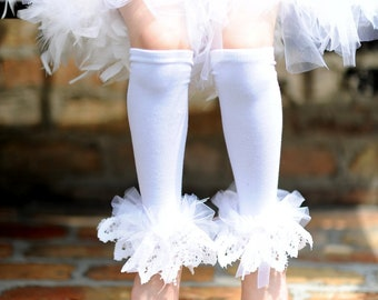 Angelic White Lace  Bunny Legs - baby girls ruffle tutu leg warmers fits 6m to 6X