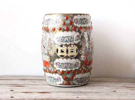 Ceramic Rose Medallion Gold & Orange Garden Stool