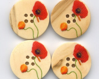 Red Poppy Buttons Decorated Floral Wooden Buttons 30mm (1 1/4 inch) Set of 4 /BT40B